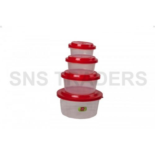 Container 04 Pcs Round Ultrafresh Plain