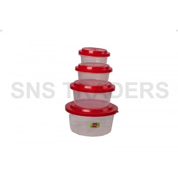 Container 04 Pcs Round Ultrafresh Plain
