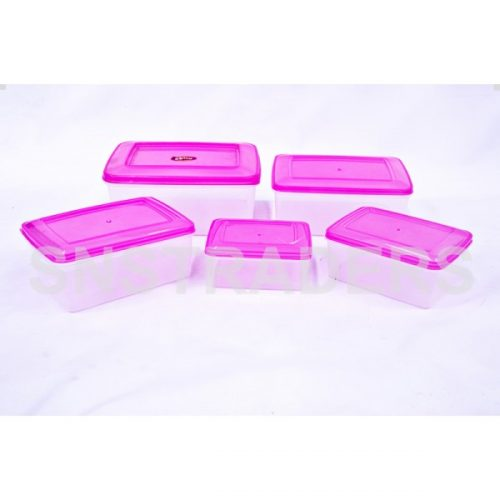 Container 05 Pcs Rectangle Food Fresh