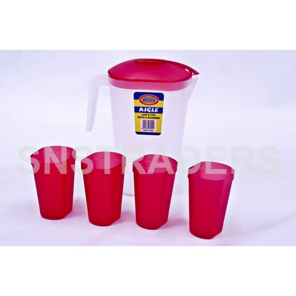 Bunty Jug Oval 2L with 4 Glasses Aigle