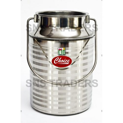 Milk Can with Lid - Silver Line